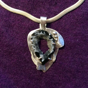Black and White Geode and Sterling Pendant