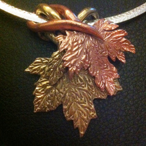 Bronze Copper Intertwined Leaves Pendant 2