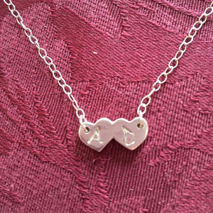 Double Heart Monogram Necklace2