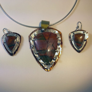Red Creek Jasper with Sterling Copper and Brass3
