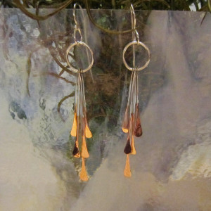 Silver-Copper Paddle Earrings