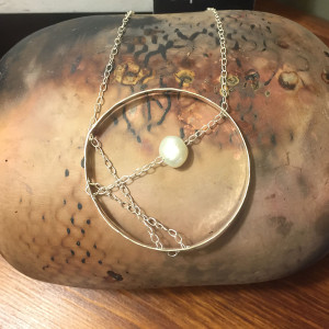 Sterling Pearl and Chain Circle