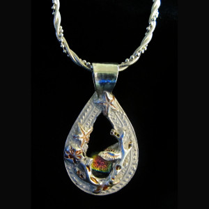 Teardrop Seashell and Dichro Pendant