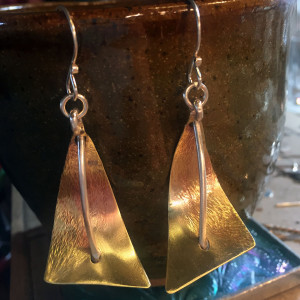 Brass and Sterling Hand Forged Sail Earrings