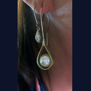 Brass and Sterling, Pearl Teardrop Earrings1