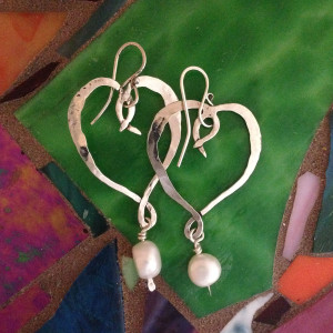 Rough Heart and Pearl Earrings