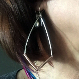 Silver Copper Tube V Earrings