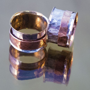 Silver and Copper Spinner Rings-1