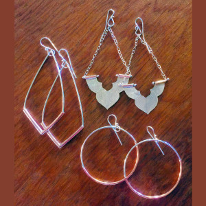 Three Silver and Copper Tube Earrings