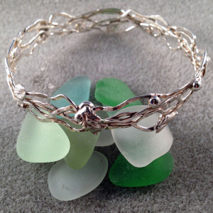 Trig and Leaf Bangle Bracelet