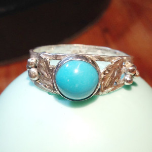 Turquoise and Leaves Ring -1